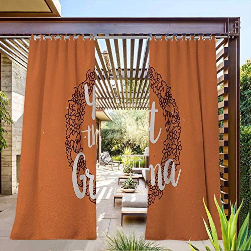 FOEYESEE Extra Long Curtains Outdoor Floral Wreath with an Uplifting Quote About Elderly on Warm Colored Backdrop Orange Ruby White UV Protectant Grommet Curtain 55x63 Inch