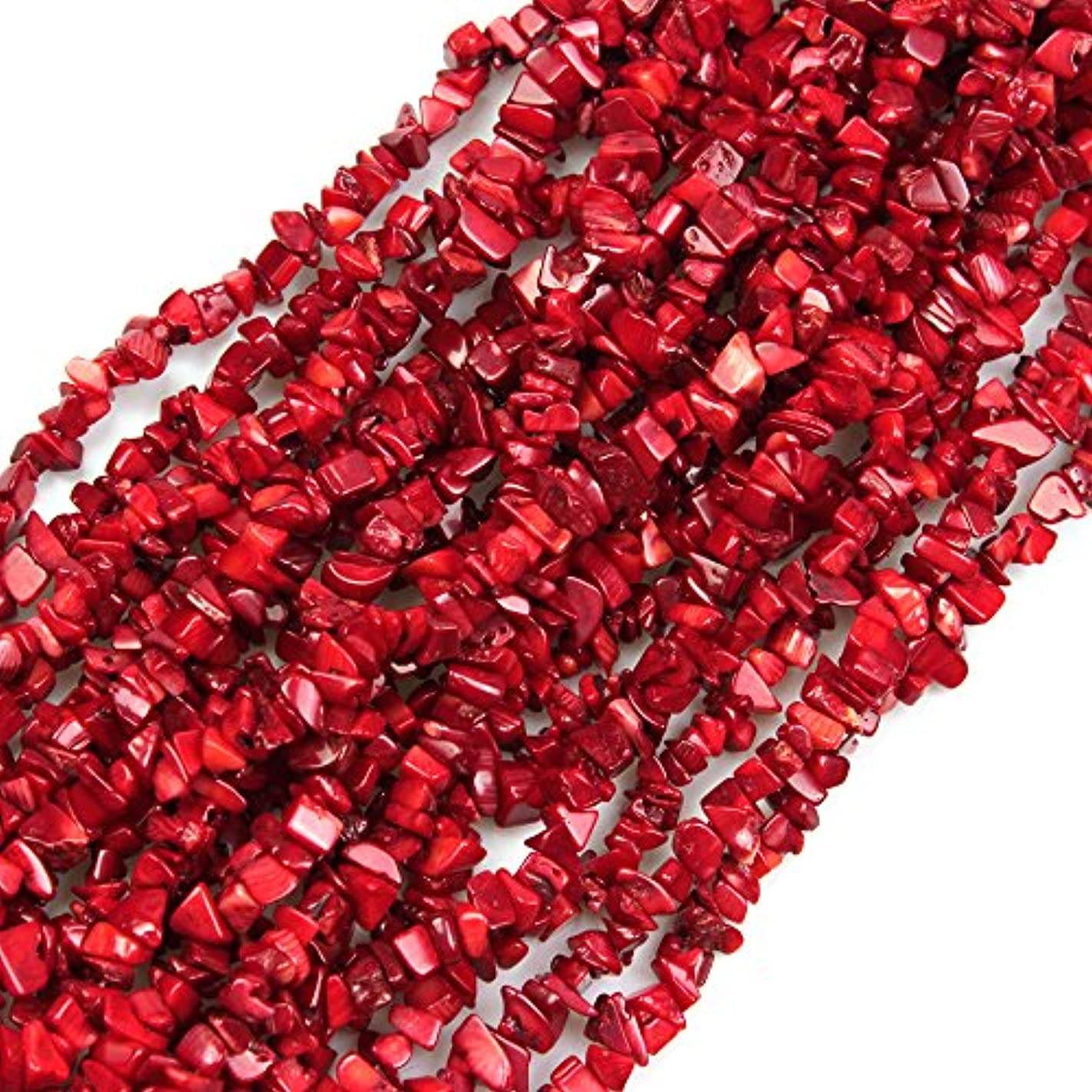 JARTC Natural Irregular Broken Red Coral Chip 6-8mm 15 Inch Agate Crystal Chip for Jewelry Making DIY Bracelet Necklace Accessory