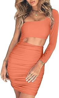 af294b33397 CHYRII Women s Sexy One Shoulder Sleeveless Cutout Ruched Bodycon Mini Club  Dress