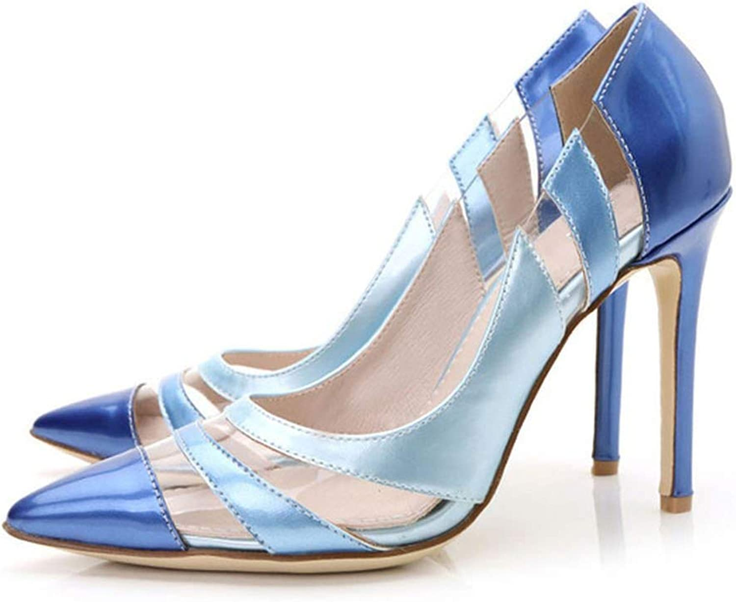 Women Pumps High Heels shoes Pointed Toe PVC Transparent Royal bluee Dress shoes Woman Party
