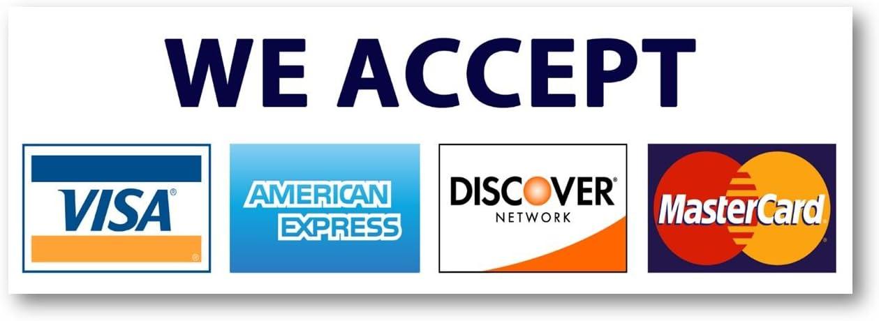 10,10 x 10 Kreditkarte Zeichen, VISA Mastercard Amex entdecken sie