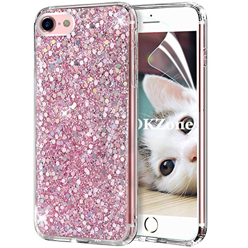 OKZone Cover iPhone 8,Custodia iPhone 7 Custodia Lucciante con Brillantini Glitters Ultra Sottile Designer Case Cover per Apple iPhone 7 / iPhone 8 4.7 Pollici (Rosa)
