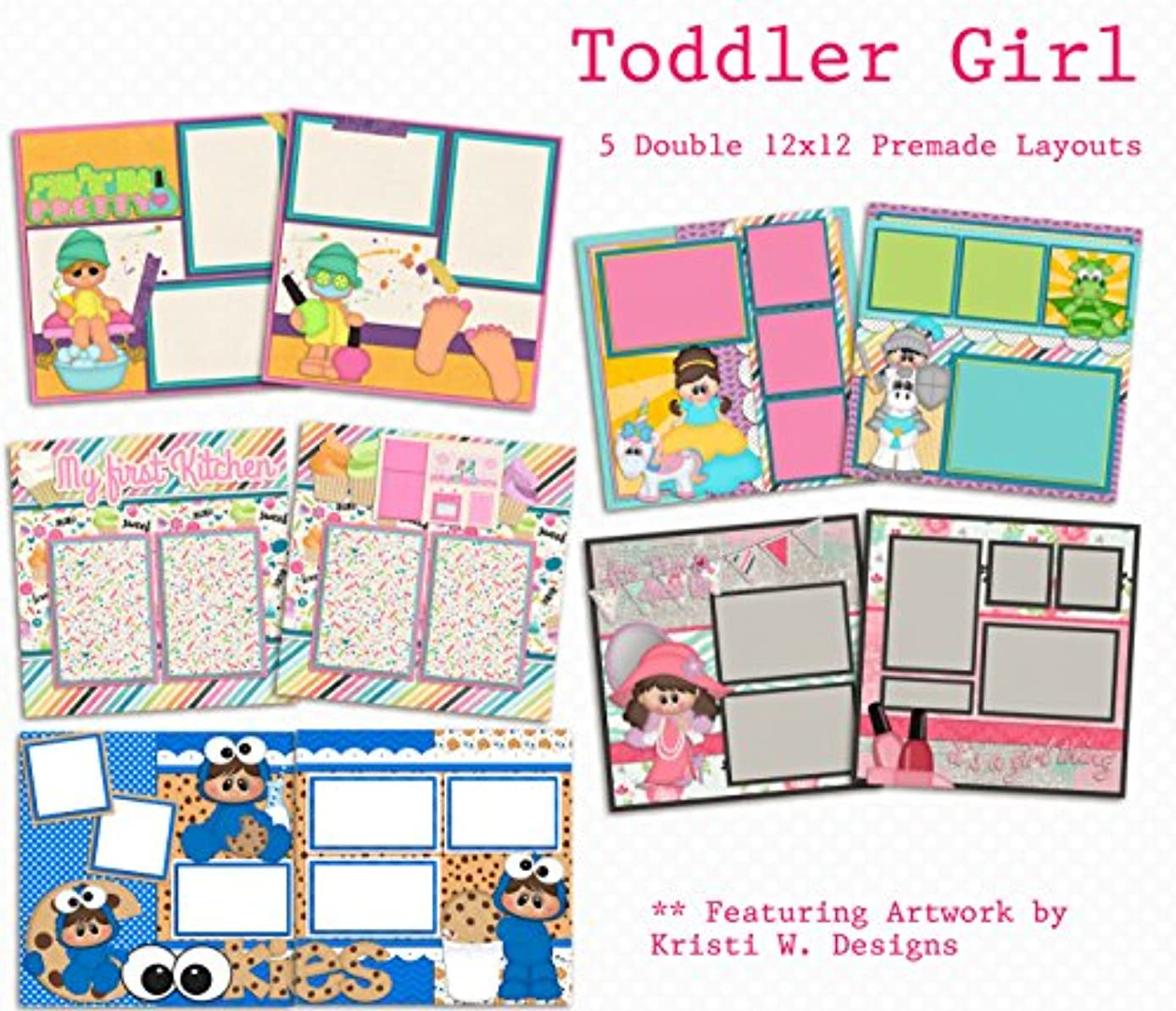 Toddler Girl Scrapbook Set - 5 Double Page Layouts