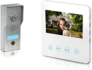 Video Doorbell Intercom with 4.3inch Monitor - Video Door Phone Kit 4-wires unlock function 1-Metal camera 1-monitor Night Vision Touch Button Screen - No Wi-Fi & APP (White)