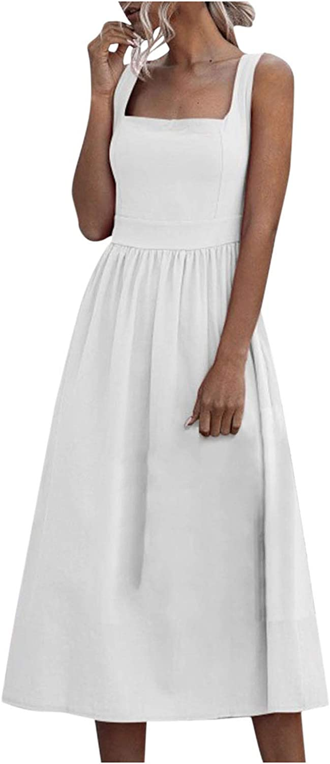 Women's New Casual Sexy Solid Color Tube Top Strap Dress, Beach Loose Bohemian Party Long Maxi Dress R1054