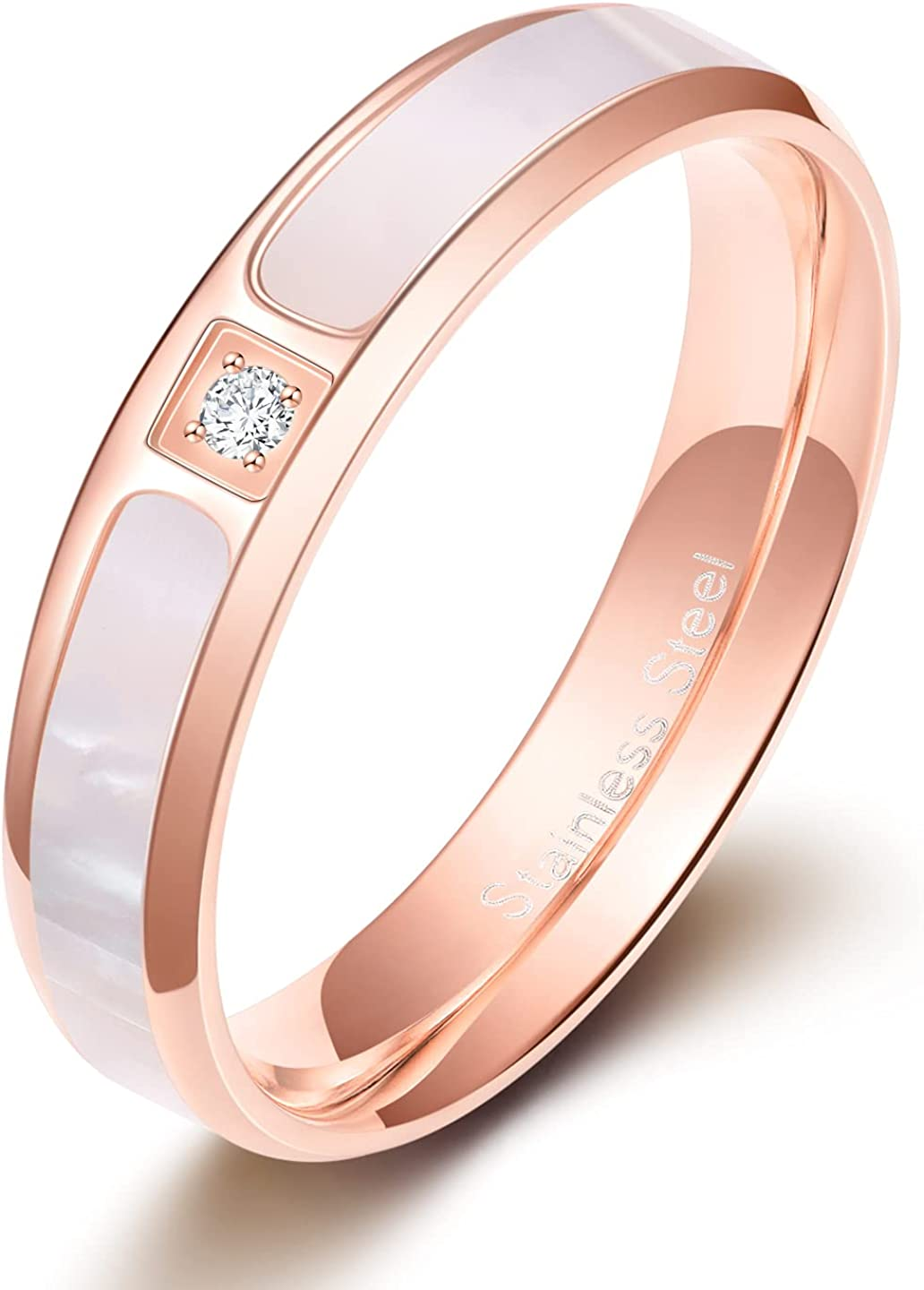 Monkton Women Rose Gold Stainless Steel Wedding Bands with White Shell Inlay Engagement Promise Ring 3.5mm/5.5mm/ 2.5-4mm Corss
