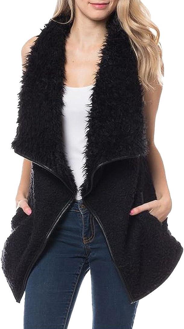 Women's Stylish Warm Faux-Fur Long Cardigan Vest Outerwear Jacket (Black, Small)