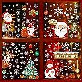 9 Hojas Pegatinas de Ventanas Navidad Pegatinas Decorativas Estáticas Papá Noel Copos de Nieve Árbol de Navidad Merry Christmas Pegatinas Navideñas para Ventanas Hogar Restaurante Escaparate