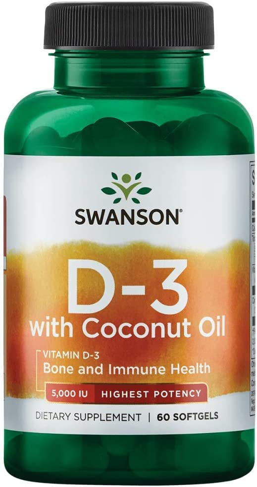 In a popularity Swanson High Potency Vitamin D-3 with Coconut 5000 Store mcg Iu 125