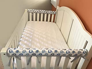 Effe Bebe Reversible Crib Rail Cover - Breathable 200 Count Cotton on face, 100% Cotton Velour Backing, 2PC/Set, Narrow Short Blue Grey