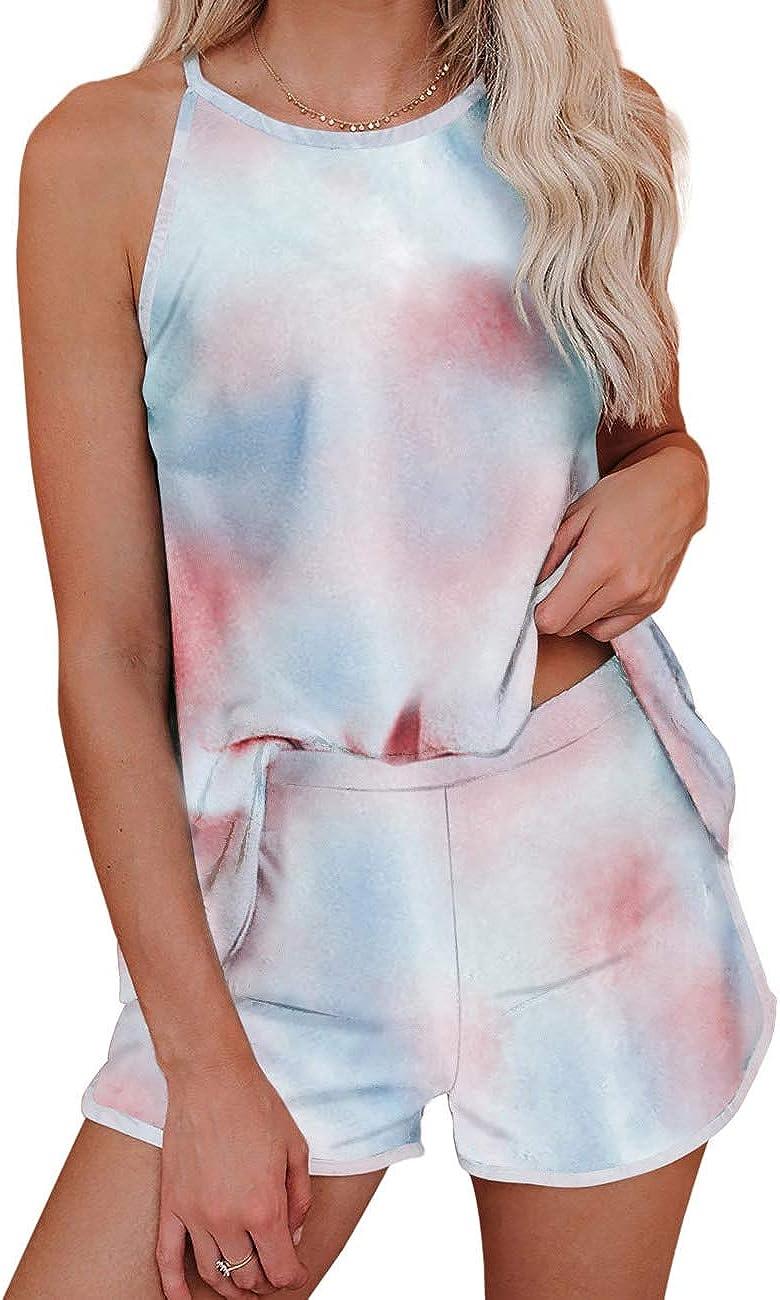 ADEWEL Womens Pajama Set Tie Dye Leopard Print Shorts Pajama Set Sleeveless Sleepwear Soft Loungewear Pjs Set