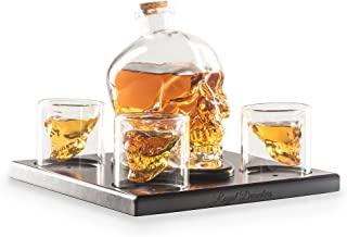 Royal Decanters Skull Shaped Glass Whiskey and Liquor Decanter Gift Set - Includes 4 Double Walled Skull Shot Glasses Also for Brandy Tequila Bourbon Scotch Rum -Alcohol Related Gifts for Dad (750ML)