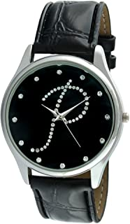 Women Silver Tone Round Wrist Watch w/Black Strap & Initial on Crystal Dial
