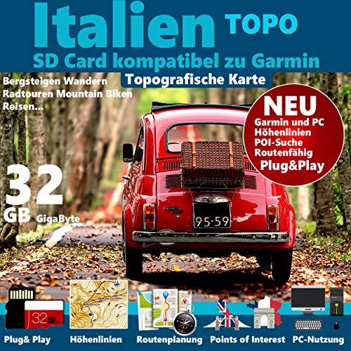 ★ Italien Italy Topo GPS Karte GB microSD Card für Garmin Navi, PC & MAC für Garmin Navigationsgeräte★