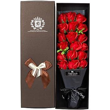 Handfly Regalos de San Valentín Jabón de baño perfumado hecho a mano Flor de rosas 18 Ramo de flores de jabón rosa en caja de regalo Los mejores regalos para ella: Amazon.es: