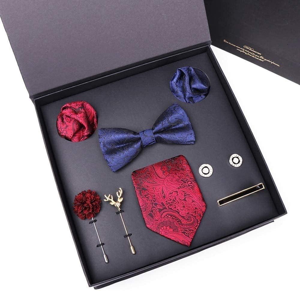 WYKDL Mens Silk Necktie and Hanky Cufflinks Set Men's Necktie Bow Tie Pocket Square Set for Formal Wedding Business Party Set Gift Box Pack