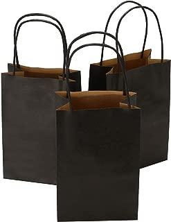 Road 5.25 x 3.25 x 8 Inches 50pcs Black Kraft Paper Bags with Handle, Shopping Bag, Retail bag, Craft Paper Bag, Merchandise Bag, Gift Bag, Party Bag
