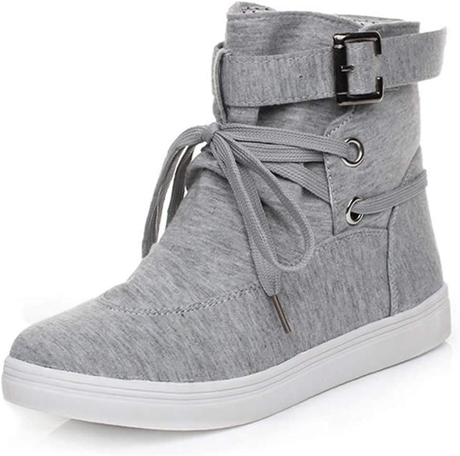 Meimeioo Woman Spring Autumn Ankle Boots Lace Up Buckle Canvas Boots High Top shoes
