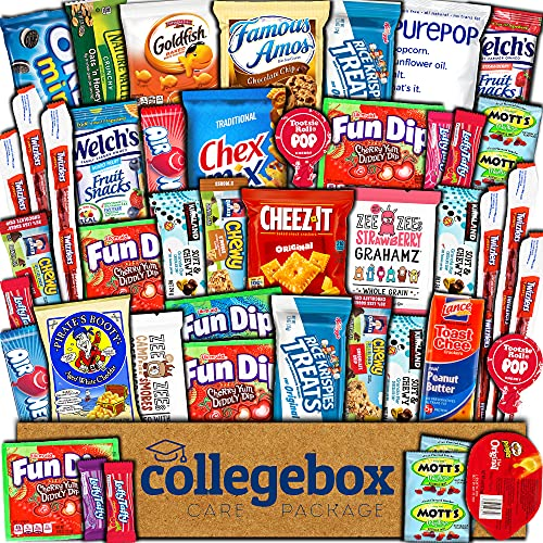 CollegeBox Care Package (45 Count) Snacks Food Cookies Chocolate Bar Chips Candy Variety Gift Box Pack Assortment Basket Bundle Mix Bulk Sampler Treat College Students Exam Office Father's Day