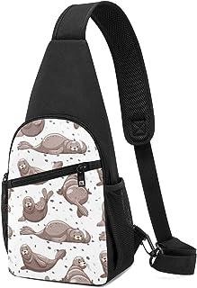 PGTry Sellos sin costuras con piel gris, mochila ligera para el pecho, bolsa cruzada para viajes, senderismo, para hombres...