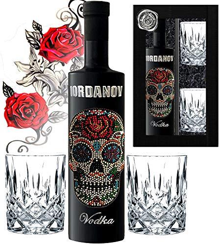 Geschenkset Flower Skull Vodka inkl. 2 Tumbler-Gläsern Black Bottle Sonderedition Luxus-Wodka Iordanov mit Crystal Kristallen & Geschenkbox Chrome