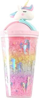 الصيف كوب الثلج المجروش فتاة كوب الجليد يونيكورن طبقة مزدوجة ~ التبريد ~ البلاستيك لطيف وطازج ~ كوب القش كوب الماء الإبداع...
