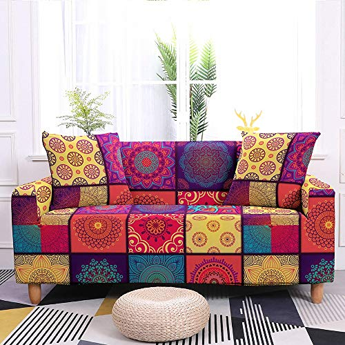 ASCV Sofa Covers for Living Room Elastic Slipcovers Sofa Protector Couch Cover Bohemian Mandala Flower For Sectional Sofa A7 4 seater