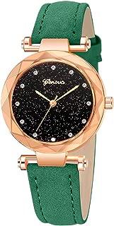 ✡Women's Watches Leather Rhinestone Inlaid Quartz Jelly Wristwatch Geneva Chronograph Watch with Crystals Link