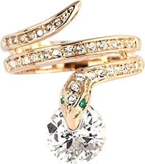 Rose Gold Plated CZ Crystal Snake Cocktail Ring