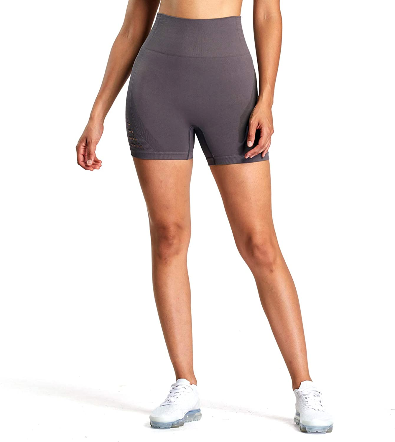 Aoxjox Womens High Waisted Workout Yoga Gym Energy Seamless Shorts
