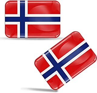 2 x 3D Domed Silicone Stickers Decals Norway Norwegian National Flag Car Motorcycle Helmet F 48