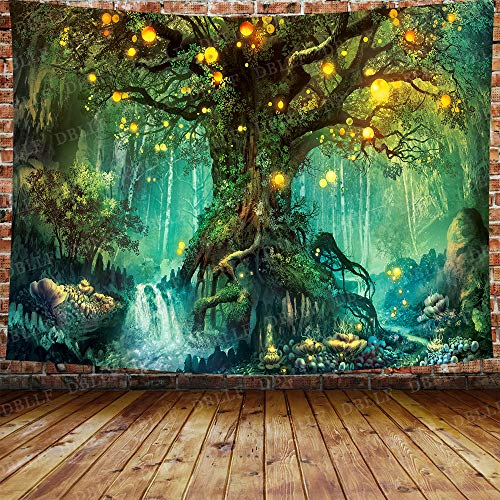 DBLLF Fantasy Forest Wall Tapestry A Large Life Tree in Forest Tapestry Fantasy Plant Magical Forest Tapestry Art for Home Decor Wall Hanging Tapestry 80X60 Inches DBZY1153