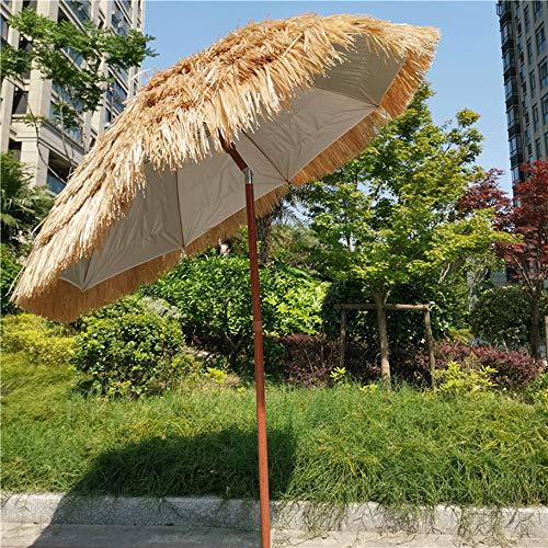 Sombrilla De Paja,sombrilla Redonda Al Aire Libre 1.8m, Sombrilla De Jardín De Estilo Hawaiano, para Cenador, Piscina, Terraza, Diseño Inclinable