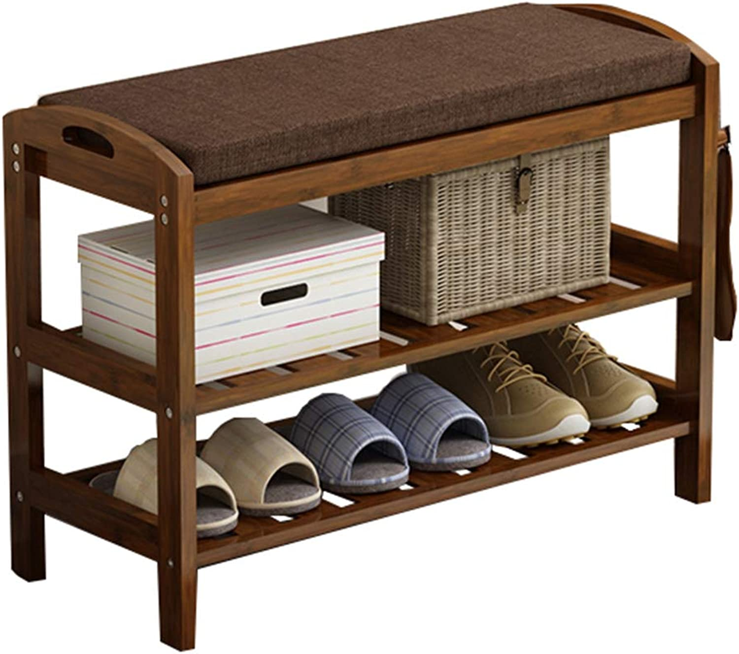 LYXPUZI Space Saving shoes Tower Cabinet shoes Rack-Multi-Layer Bamboo shoes Cabinet Home Hall Cabinet Locker-Wearing shoes Bench for shoes Bench Storage Organizer (Size   71x29x50cm)