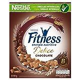 Cereales Nestlé Fitness Delice - Cereales de trigo, maíz y arroz tostados con cacao rellenos de crema con chocolate - Paquete de cereales de 350 gr