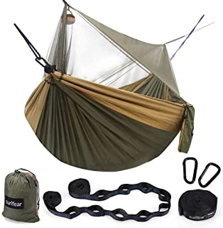 Sunyear Hammock Camping with Net/Netting & 2 Tree Straps (16+1 Loops Each,20Ft Total), Portable Nylon Parachute Hammocks f...