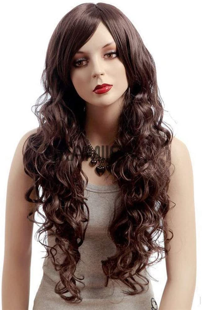 JYMBK Wigs Fashionable High quality Wig with Sloping Topics on TV Hair Curly Long Bangs