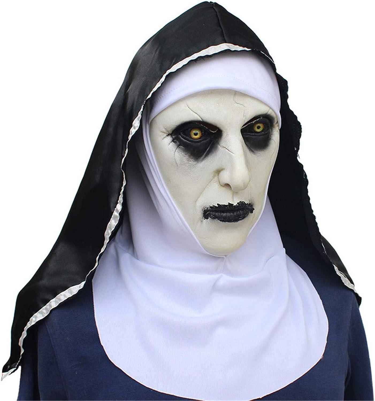 VUKUB Halloween Decoration Horrified Nun Female Ghost Mask Costume Mask Cosplay Full Head Mask Latex Fire Wolf