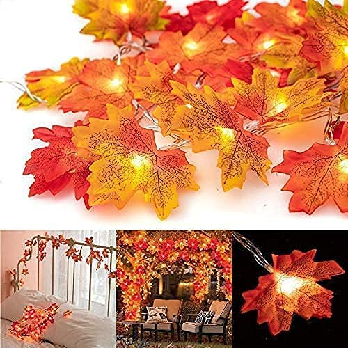 3 Pack Thanksgiving Fall Maple Garland String Lights, 10Ft / 20 LED Waterproof Seasonal Lights, 3 Blinking Modes for Thanksgiving Christmas Festival Decor, Home Party, Fireplace &Outdoor Garden