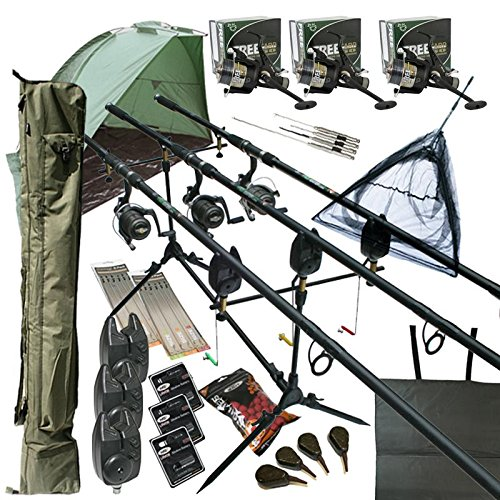 OAKWOOD Deluxe Full Carp fishing Set Up With Rods Reels Alarms 42 Net Holdall Bait Bivvy Tackle