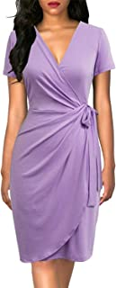 Women's Classic V-Neck Casual Party Knee Length Sheath Work Short Sleeve Faux Black Wrap Dress