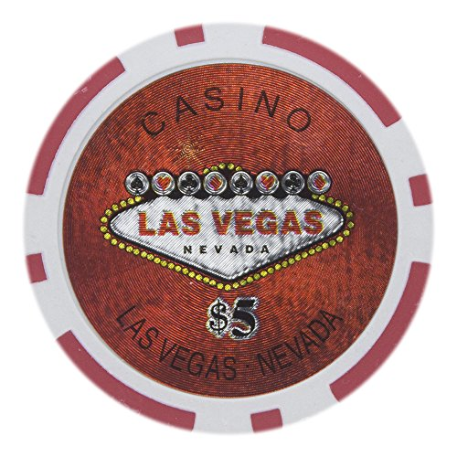 Brybelly Las Vegas Casino Poker Chip Heavyweight 14-Gram Clay Composite – Pack of 50 ($5 Red)