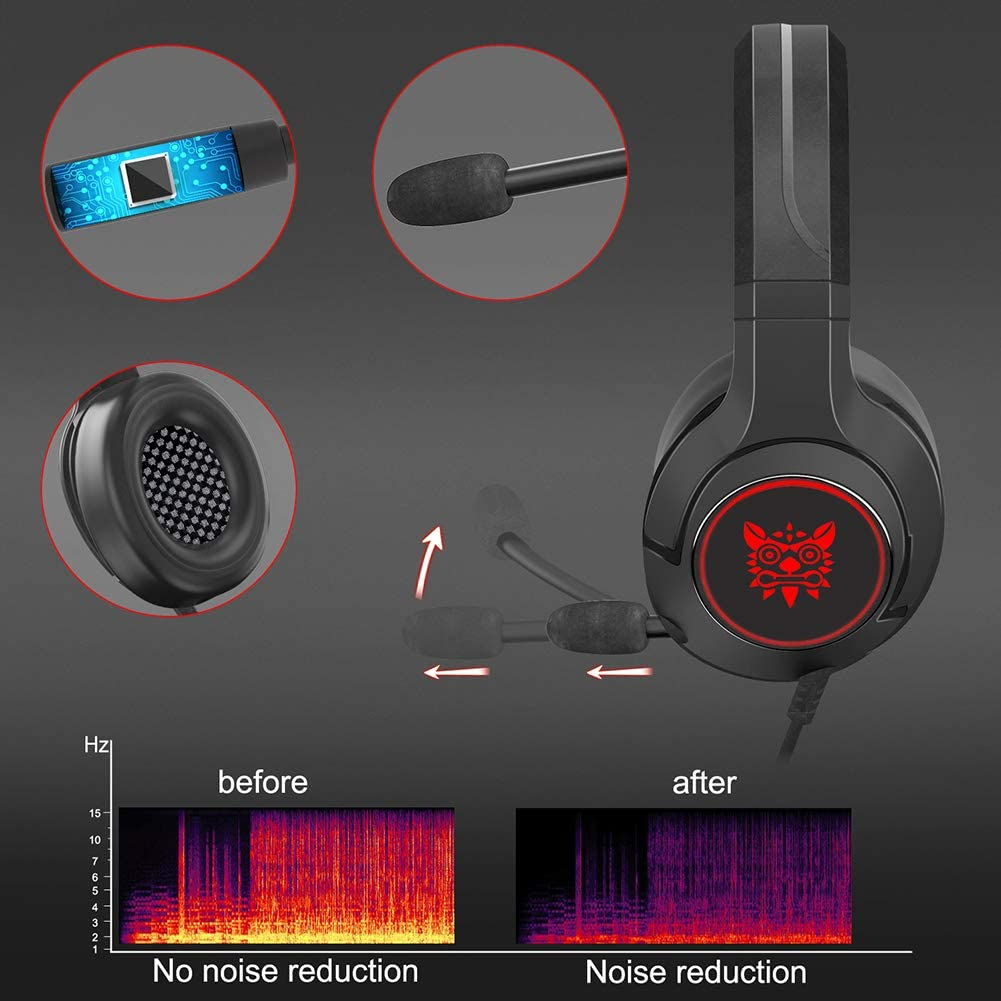 Compatible with Laptop YINSY Gaming Headset,Wired Gaming Headphones,with Mic,RGB Cool Light,Volume Control PC PS4 Smartphone and So On,Black+Blue Tablet