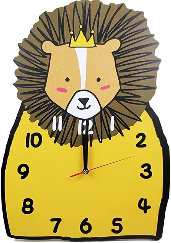 SE7VEN Silent Lion Wall Clock For Kids Room Non Ticking Battery Operated Children Clocks Child Bedroom D Cor Ideas For Boy Girl Toddler Nursery Yellow 35x25cm 14x10inch