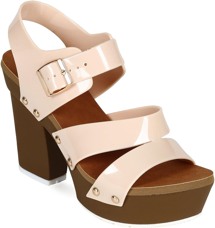 Nature Breeze CC75 Women Jelly Open Toe Strappy Platform Chunky Heel Sandal - Beige