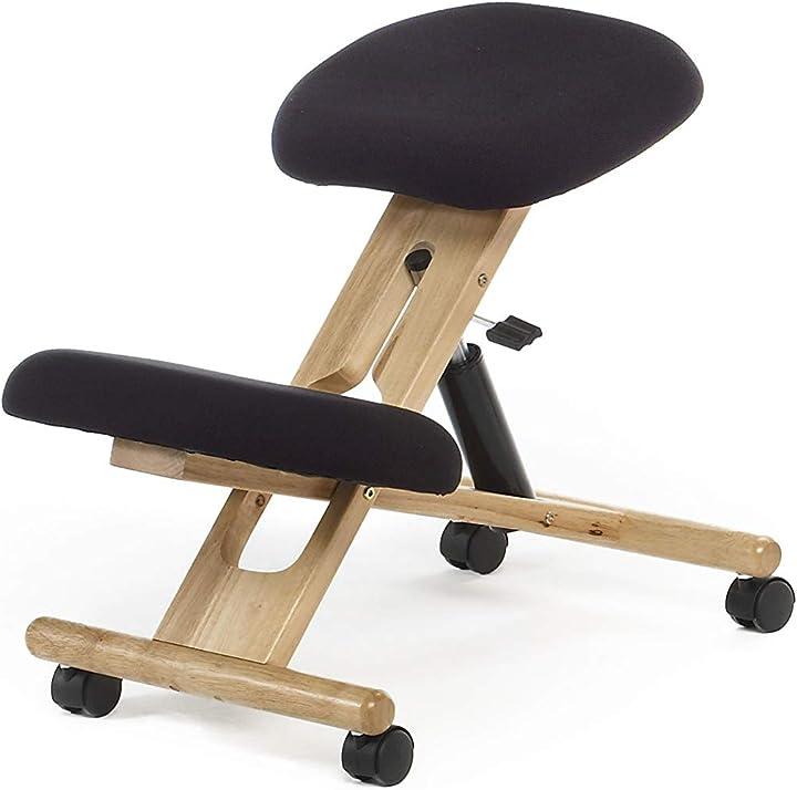 Sedia da computer legno di faggio e nero misure: 46 cm (larghezza) x 68 cm (profondità) x 52-62 cm (altezza) B00ASXUH0W