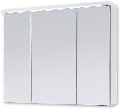Stella Trading Two Spiegelschrank Armoire Miroir de Salle de Bain avec éclairage LED, Bois d'ingénierie, Blanc, 80 x 68 x 22,5 cm