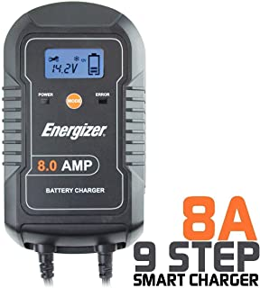 Energizer 8 Amp Battery Charger and Battery Maintainer with LCD for 6 and 12V Batteries - 9 Step Smart Charging Technology Will Improve Your Battery's Life Cycle for Car, RV and Boat