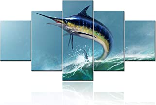 Paintings for Living Room Blue Marlin Swordfish Jumping Pictures White Wave Wall Art 5 Piece Printed on Canvas Blue Sea Ar...