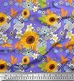 Soimoi Lila Seide Stoff Blätter und Sonnenblumen Blumen-